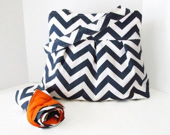 Chevron Diaper Bag Set with Matching Changing Pad - Navy Blue and Orange or Choose Your Own