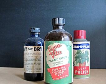 Vintage Household  Bottles, Plant Food, Medicine Cabinet, Industrial Bottles, Vintage Bottles, Old Glass, Old Bottles, Vintage Blue Glass