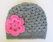 Girl Gray Hat With Pink Flower 5 Years To Adult Fall Cloche Preteen Handmade Crochet  Winter Grey Cap Beanie