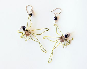 dragonfly earrings · green earrings · wire wrap · wire sculpture · insect jewellery · wire art · dragonfly jewelry