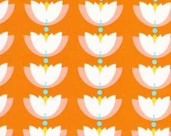 SALE--Lotus Pond--Lotus Drop--Orange--Rae Hoekstra--Certified Organic Cotton--price is per yard