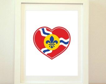 STL Love, St Louis Heart Print, Saint Louis, St Louis, St Louis Flag, St Louis Poster, St Louis Art, St Louis Print, 6 Sizes