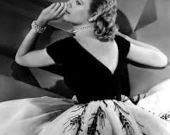 1950s Style Black and White Grace Kelly Movie Inspired Full Tulle Skirt Evening Wedding Dress CUSTOM Made