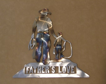 Steel wall sculpture of cowboy father and son