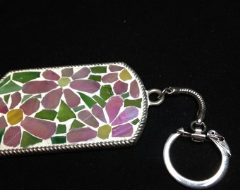 MOSAIC FLOWER KEY Chain, Stained Glass Key Chain , Mosaic, Mosaics, Broken Glass Jewelry, Valentines Day Gift