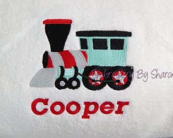 Train Bath Towels, Personalized kids Bath Towel,   Personalized childrens towels - train kids gifts - toddlers gifts