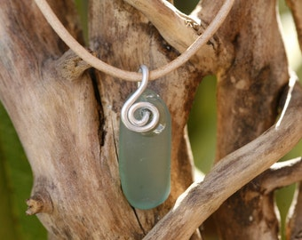 Pale green \ turquoise sea glass necklace