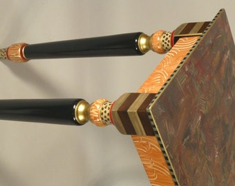 Hall Table-Turned Legs: Salmon-Red, Custom Made-To-Order