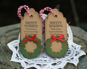 Christmas Gift Tags - Set of 6 Holiday gift tags with twine - Merry Wishes...- Wreath