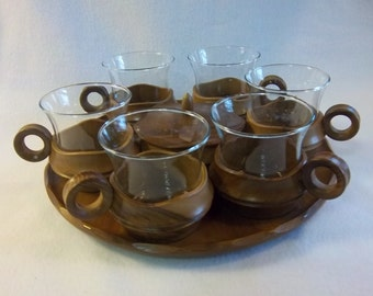 Danish Modern Serving Set: Coffee, Cream or Sugar Lidded Bowl and Six Glass Cups with Wooden Holders and Matching Serving Tray
