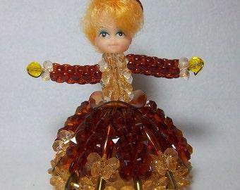 1970s Li'l Missy Beaded Doll Friend Figurine - Vintage Home Beaded Decor