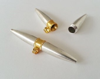 TYPE NO 27 - set of 4 bullet shaped  stash compartment boxes Pendants in white metal