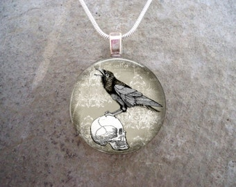 Crow Jewelry - Bird Jewellery - Glass Pendant Necklace - Raven 24