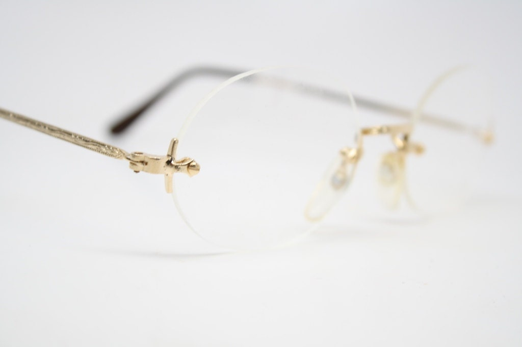 Unused Gold Rimless Vintage Glasses 1980s Eyeglasses
