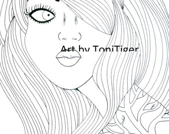 Adult Coloring Page, Instant Digital Download Page Girl with the Tree Tattoo, Color Yourself Original Lineart,Downloadable Coloring Book