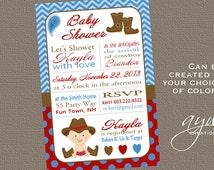 Cowboy Baby Shower Invitation Cowboy Hat Cowboy Boots - Baby Shower Invite Blue Red Brown Invite Cowboy  Polka Dots Chevron Cowboy DIY Print