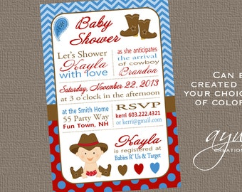 Cowboy Baby Shower Invitation Boy Invitation Cowboy Shower Invitations Printable Invitation Printable Baby Shower Invitations Cowboy