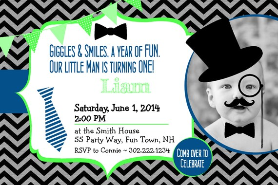 Little Man Birthday Invitation Printable Little Man Mustache 1st