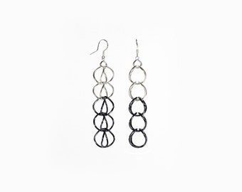 Oxidized chainmaille earrings / Handcrafted sterling long earrings
