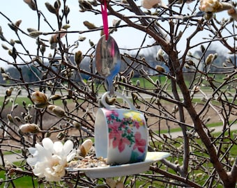 Tea Cup Bird Feeder with Hand Stamped Bent Spoon- Perfect Gift For Mom, Gram or Anyone you Love