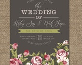Bridal Shower Wedding Invitation, Romantic Pink Floral & Grey Background, Invite Wedding or Shower DESIGN - Printable DIY