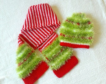 Christmas hat and scarf, baby christmas hat, toddler scarf , set of baby hat and scarf, knitted baby hat, baby scarf, gift for kids