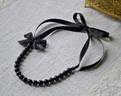 Nora: Beautiful Black Pearl and Black Ribbon Necklace with Bow - Bridesmaids