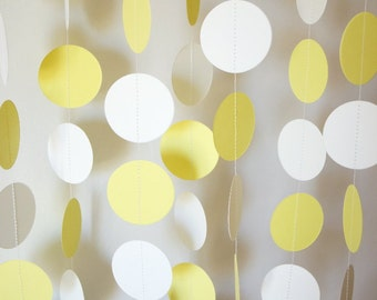 YELLOW & WHITE Paper Garland, Wedding Decor, Yellow Birthday Party Decoration, Baby Shower Decor, Sprinkle Shower, Nursery, 10 ft. long