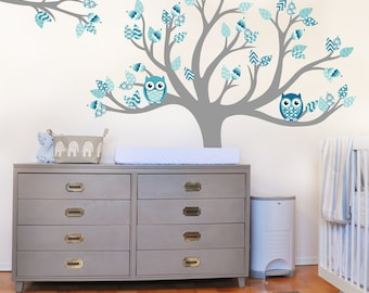 Blue Nursery decor Tree decal Pink Nursery decor |140 x 150cm / 55 x 59 inches |
