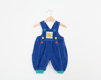 Vintage Baby Romper Overalls in Royal Blue Corduroy 3 to 6 months