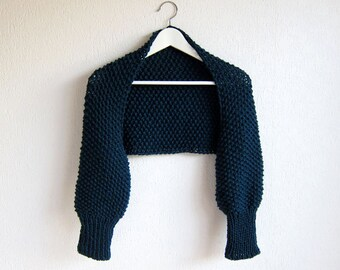 Cable Knit Bolero in Blue. Knitted Sleeves. Chunky Scarf Blue. Knitted Shawl Blue. Knit Blue coat