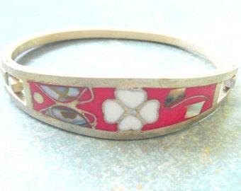 Vintage Bracelet Sterling Flower Inlay Child Mexico
