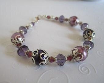 Purple Bridesmaid Bracelet and Earring Set Purple Wedding Bridesmaid Gift Wedding Jewelry