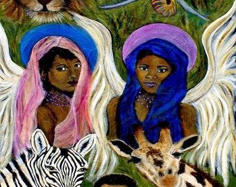 8 x 10 Original African Angel Print, Safari, Giraffe, Zebra, Elephant, Lion, Children's Decor, Home Decor, Kid's Bedroom Decor