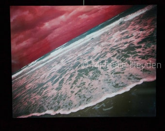 "Fine Art Photography Metal Print-16"" x 20""-Red Sky Seascape"