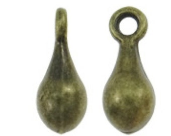 30pc 10x4mm antique bronze finish metal drop pendants-8493