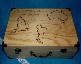 Custom Destination Wedding Map Trunk Wood Burned Suitcase Favor Box Wedding Keepsake Card Box States Travel Rustic Bridal Chest Personalized