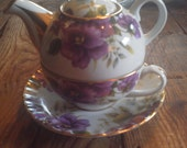 Beautiful Teapot for one Set, Teapot, Cup, Saucer