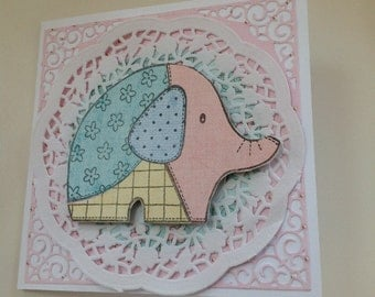 Birthday Card, New Baby Card, Patchwork Elephant