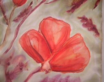Original Silk Painting. Wild Poppies Hand Painted  Home Decor, Red,  Burgundy, Gray, Sage Green. 14 x 51 in. Art/Wall Decor OOAK