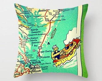 Virginia Beach Map Pillow Cover, Virginia Beach Pillow, Norfolk Virginia Beach House Decorative Pillow Cover 18x18, Kids Room Pillow Map Art