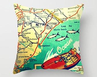 Myrtle Beach South Carolina Map Pillow SC Georgetown Beach House | Map Decor | Map Art Print MCM Mid Century Modern Nautical Art