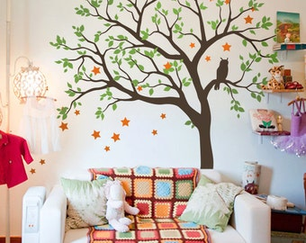 "Baby Nursery Tree Wall Decal Wall Sticker - Owl Tree Wall Decal - Owl, Stars and Tree Decals - Large: approx 71"" x 59"" - KC054"