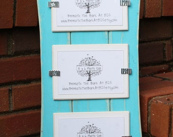Triple 4x6 Picture Frame - Distressed Wood - Curved - Holds 3 - 4x6 Photos - Turquoise & White