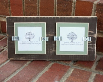 "Picture Frame - Holds 2 - 3"" x 3"" Photos - Distressed Wood - Brown & Sage Green"