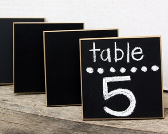 "Wedding Sign - Chalkboard Place Cards - Table Markers - 4"" x 4"" Square - Distressed Edges - Set of 4"
