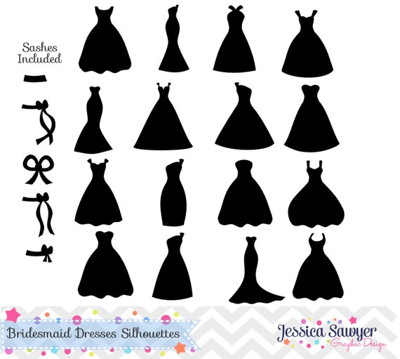 Wedding Dress Silhouette: INSTANT DOWNLOAD Bridesmaid Dresses Silhouettes Clipart