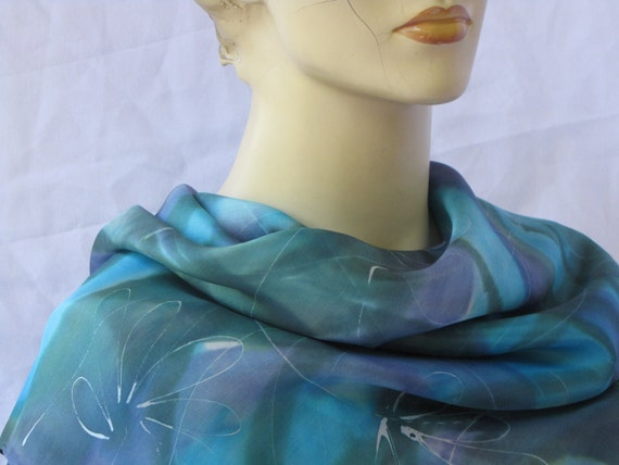 Silk scarf: Hand-painted silk scarf, colored  Blue, light Blue and Green in the background with wide white draws