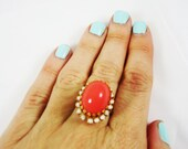 Vintage 1950's Coral and White Gold Adjustable Ring
