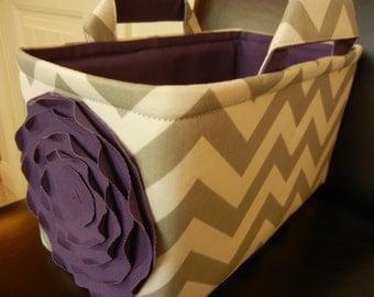 "LG Long Narrow Diaper Caddy 8""x12""x6""(choose COLORS)Toy basket(No Divider)Fabric storage Organizer-Baby Gift-Chevron-""Purple Rose on Grey"""